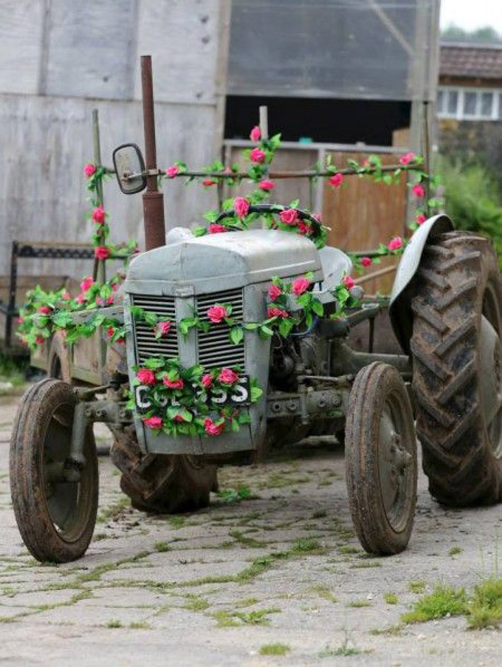 floral tractor prom car