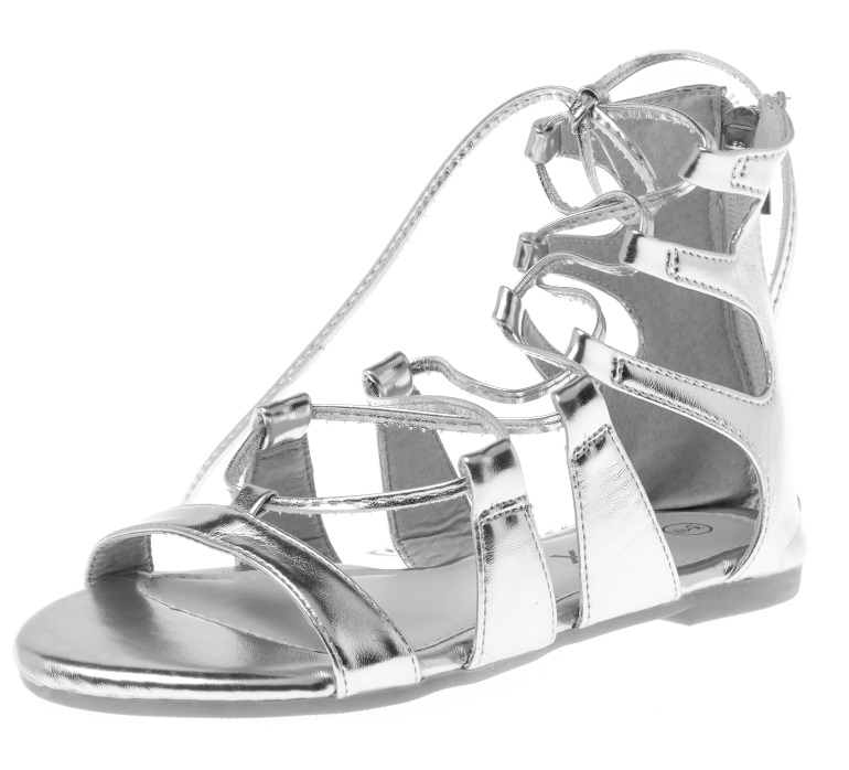 blue inc silver flat laceup sandals