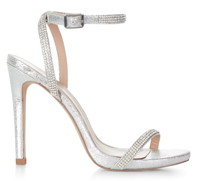 new look silver diamante prom shoes