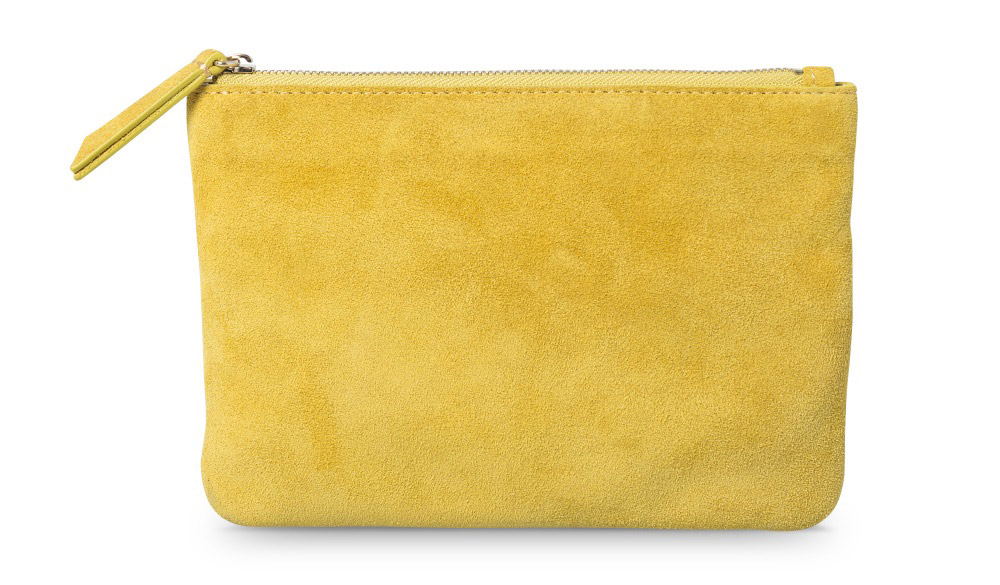 yellow suede pouch